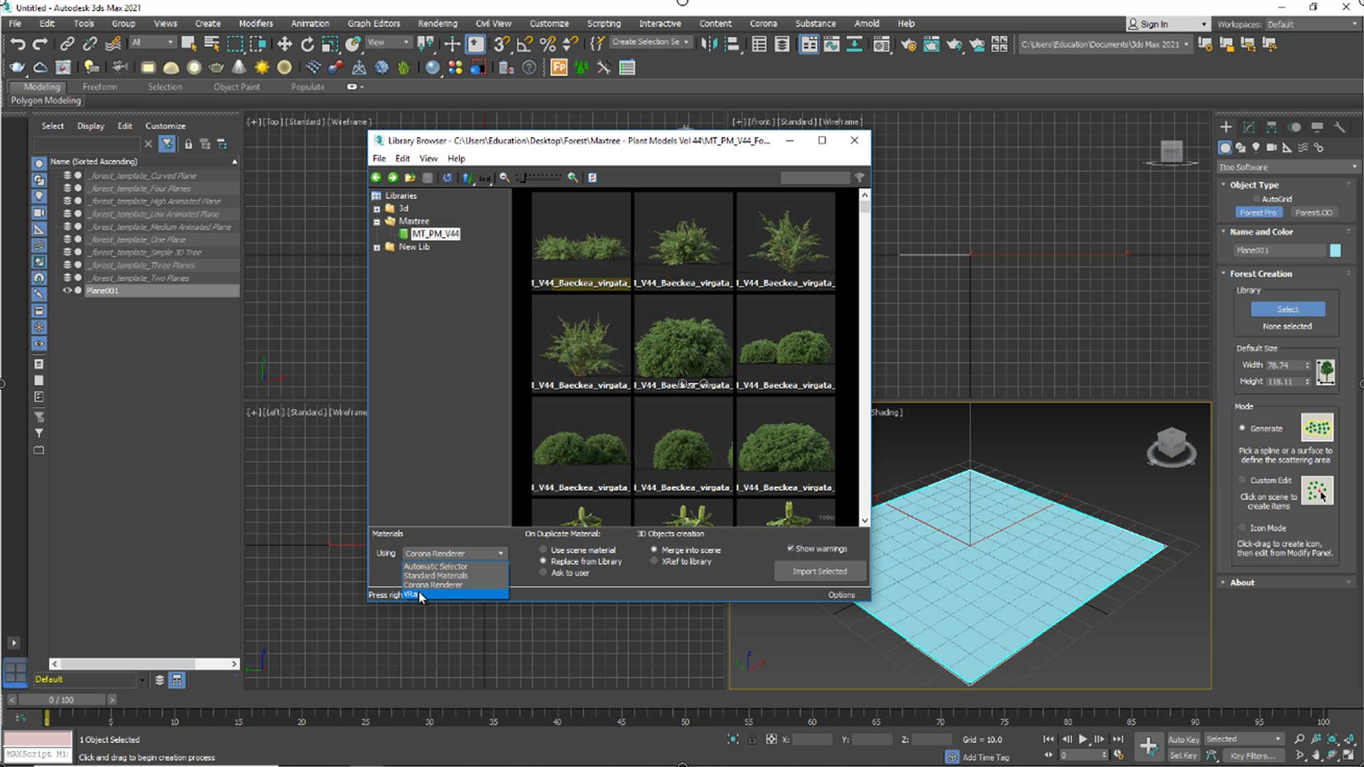 forest free tutorial Material and Rendering render Engines