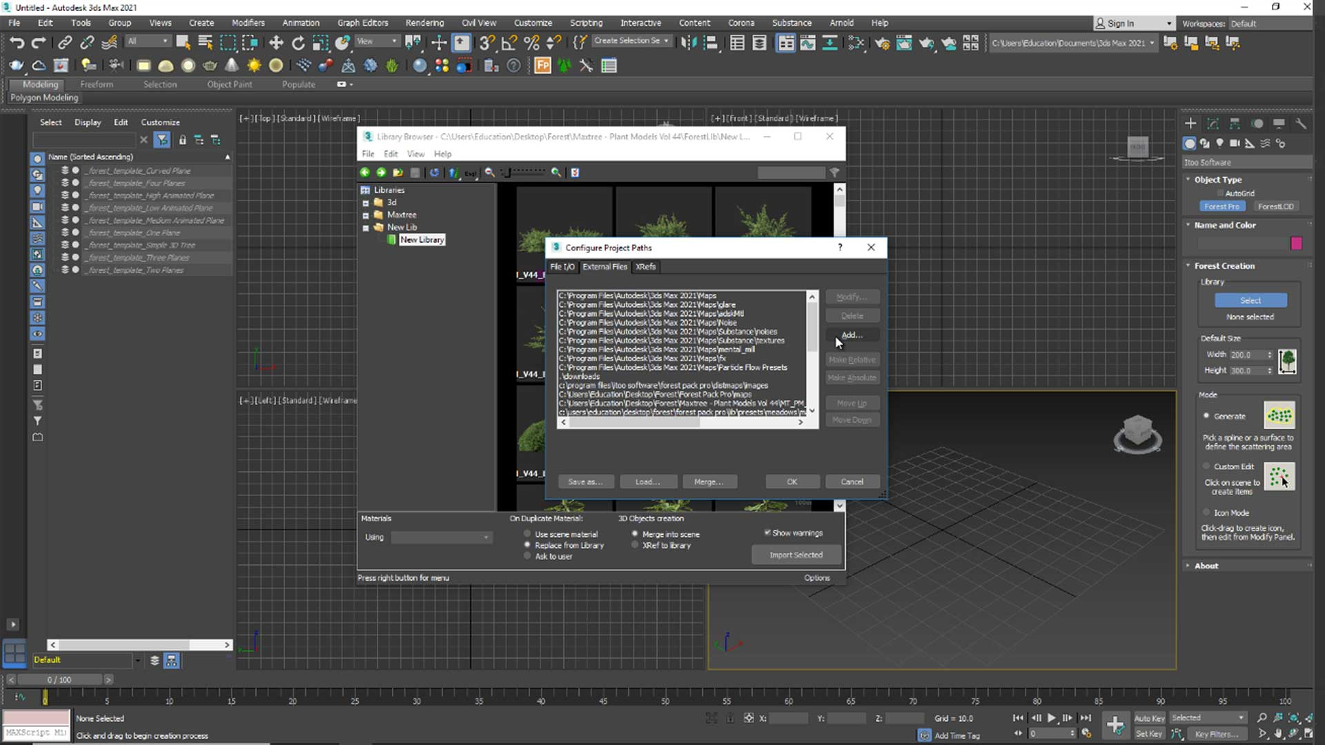 forest free tutorial Material and Rendering reload materials