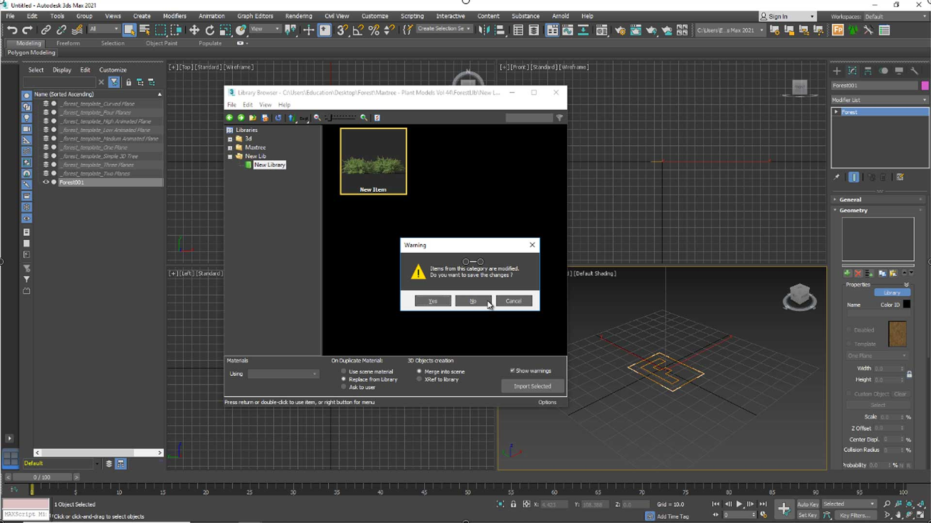 forest free tutorial Material and Rendering a Quastion Dialog