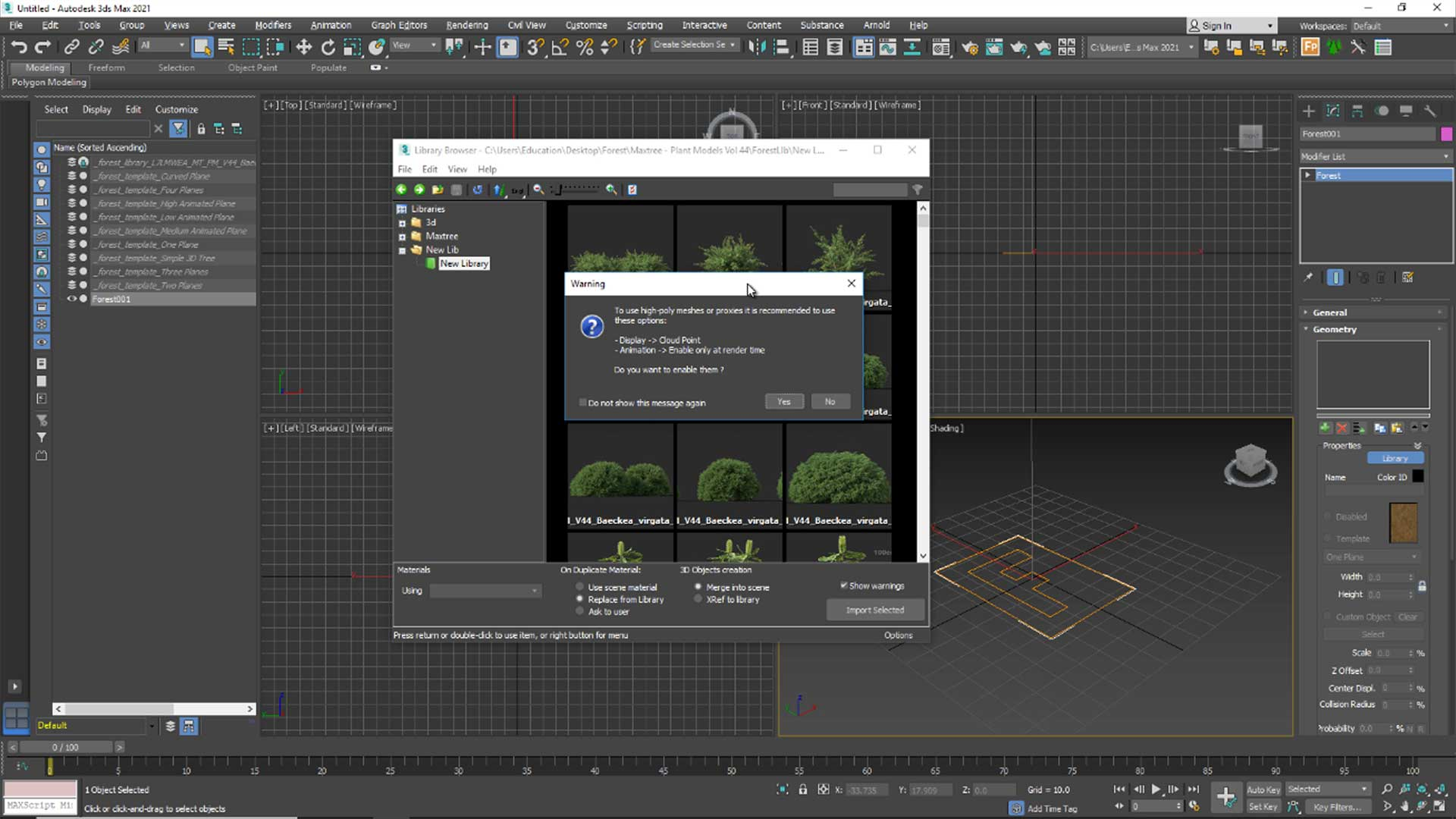 forest free tutorial Material and Rendering warning Dialog